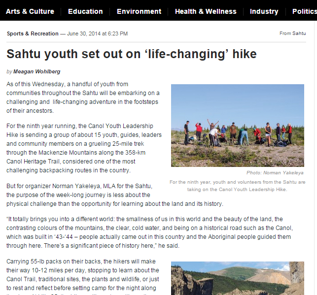 sahtu youth hike