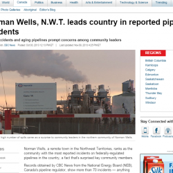 Norman Wells, N.W.T. leads country in reported pipeline incidents