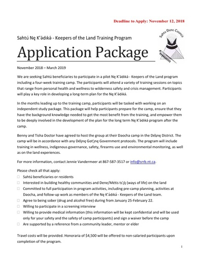 Nę K'ǝ́dıkǝ́ Application Package