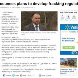 N.W.T. Announces Plans to Develop Fracking Regulations