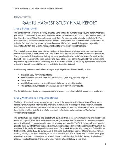 Summary of the Sahtú Harvest Study Final Report 2021
