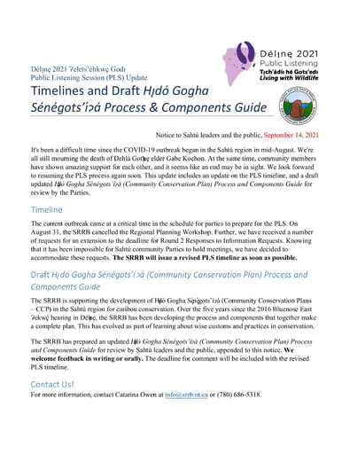 21-09-14 Délı̨nę 2021 PLS Notice - Timelines-Draft CCP Guide