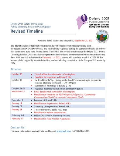 21-09-28 Délı̨nę 2021 PLS Update - Revised Timeline